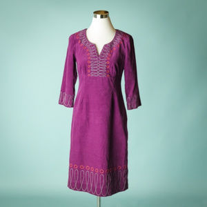 Boden 6 Long Purple Embroidered Corduroy Dress